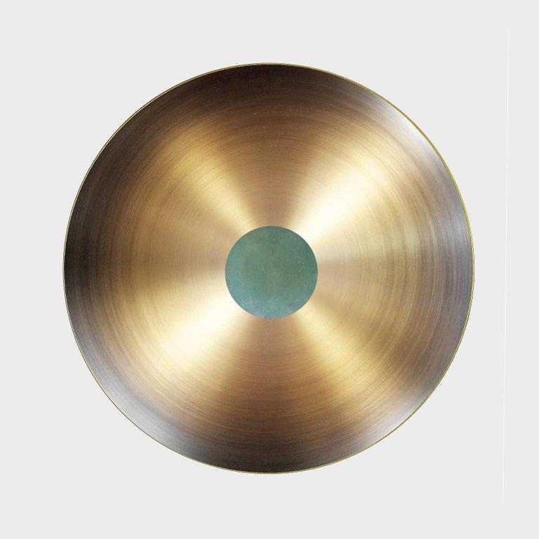 British Cosmic 'Verdigris' Pendant Handmade Patinated Brass Ceiling Light, Chandelier For Sale