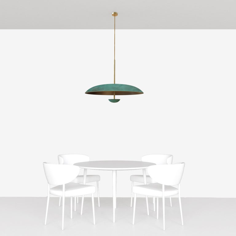Cosmic 'Verdigris' Pendant Handmade Patinated Brass Ceiling Light, Chandelier In New Condition For Sale In London, GB