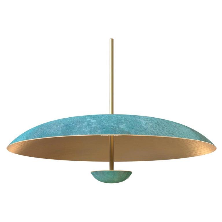 Cosmic 'Verdigris' Pendant Handmade Patinated Brass Ceiling Light, Chandelier For Sale