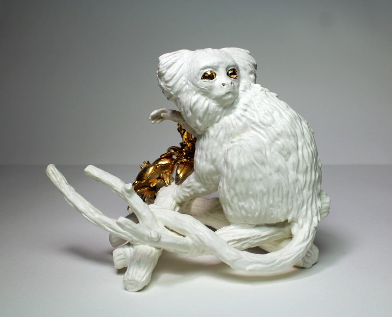 American Callithrix Jacchus by Mikel Durlam, Ceramic Sculpture with 22 Karat Gold Luster For Sale