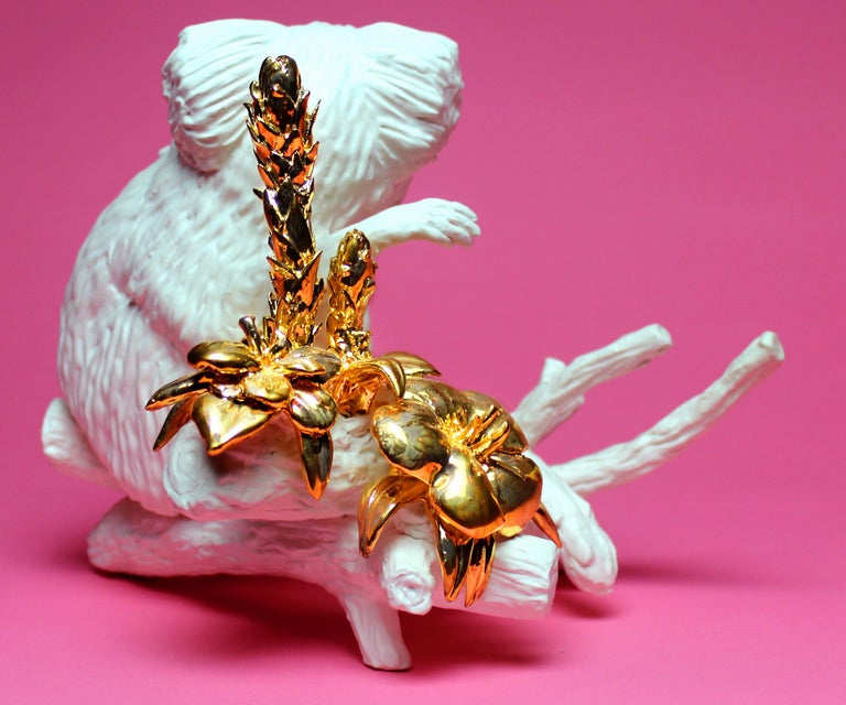 Hand-Crafted Callithrix Jacchus by Mikel Durlam, Ceramic Sculpture with 22 Karat Gold Luster For Sale