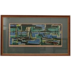 Woodblock Print of Sailboats