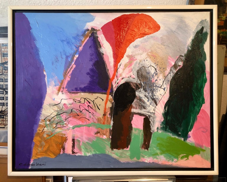 Large Original Abstract Colorful Oil Painting Israeli Kibbutz Landscape Shemi For Sale 9