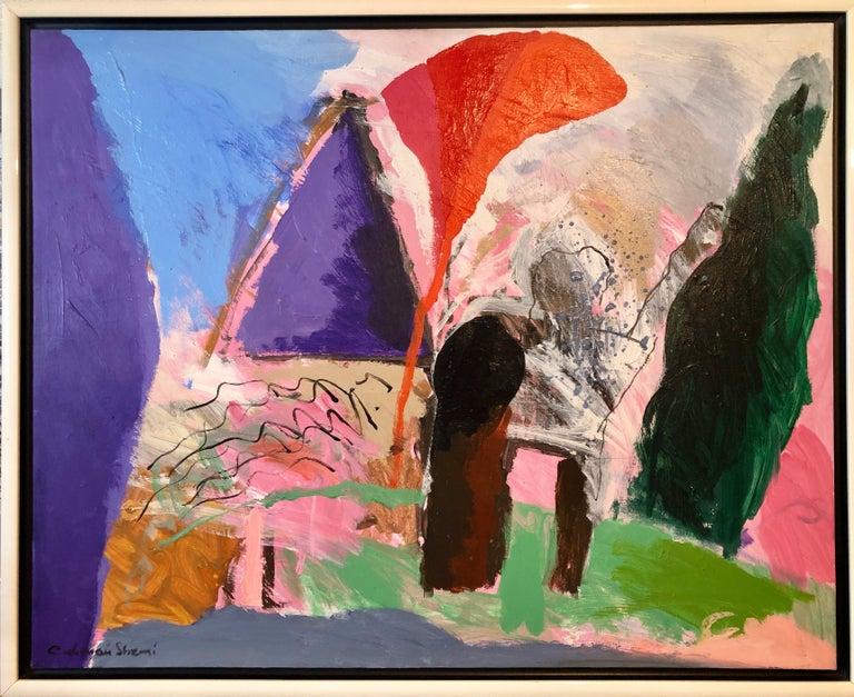 Large Original Abstract Colorful Oil Painting Israeli Kibbutz Landscape Shemi - Gray Landscape Painting by Calman Shemi