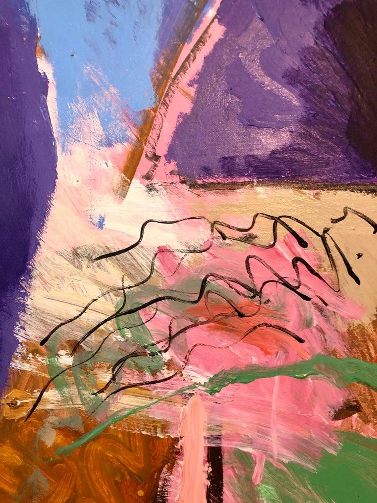 Large Original Abstract Colorful Oil Painting Israeli Kibbutz Landscape Shemi For Sale 4