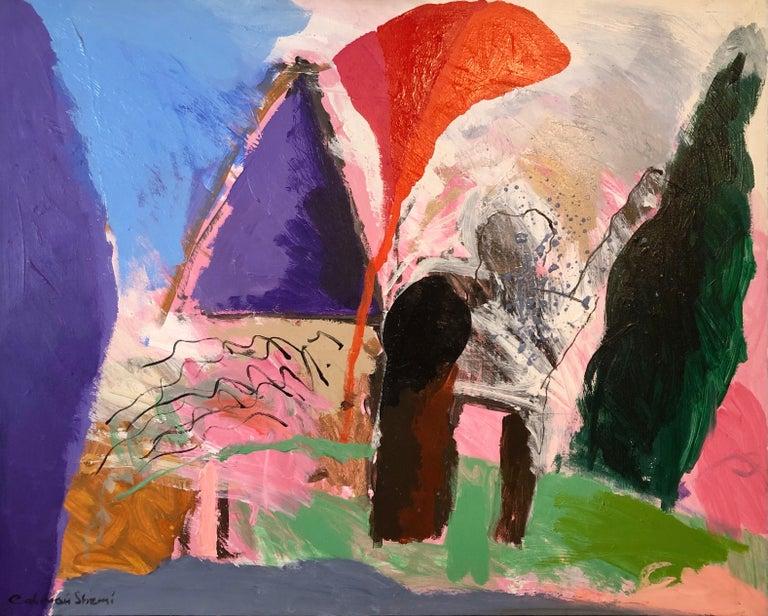Calman Shemi Landscape Painting - Large Original Abstract Colorful Oil Painting Israeli Kibbutz Landscape Shemi