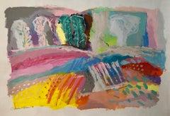 Large Original Abstract Colorful Painting Israeli Kibbutz Landscape