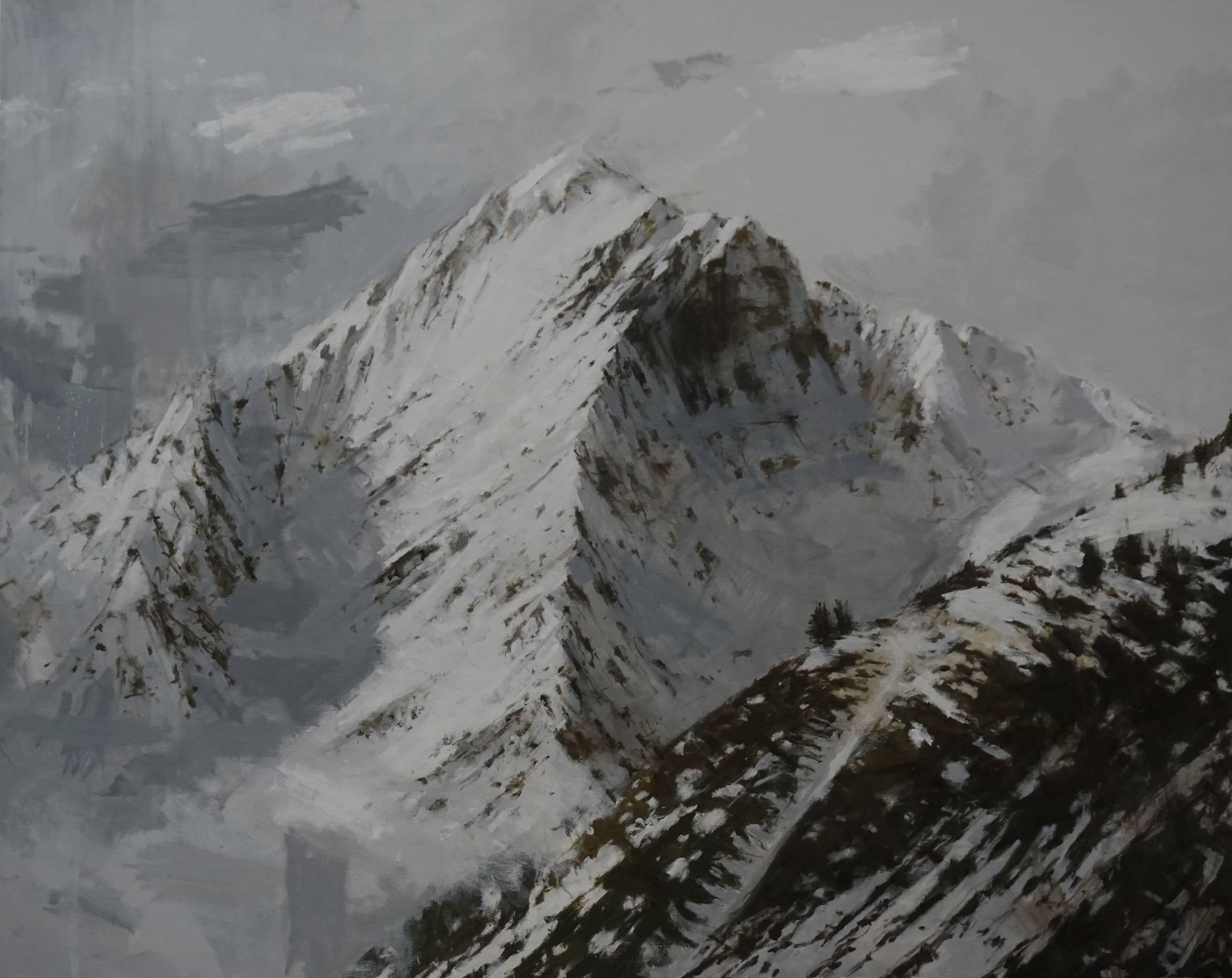 Big Benasque 2, Snow series - Large Mountain Landscape Painting