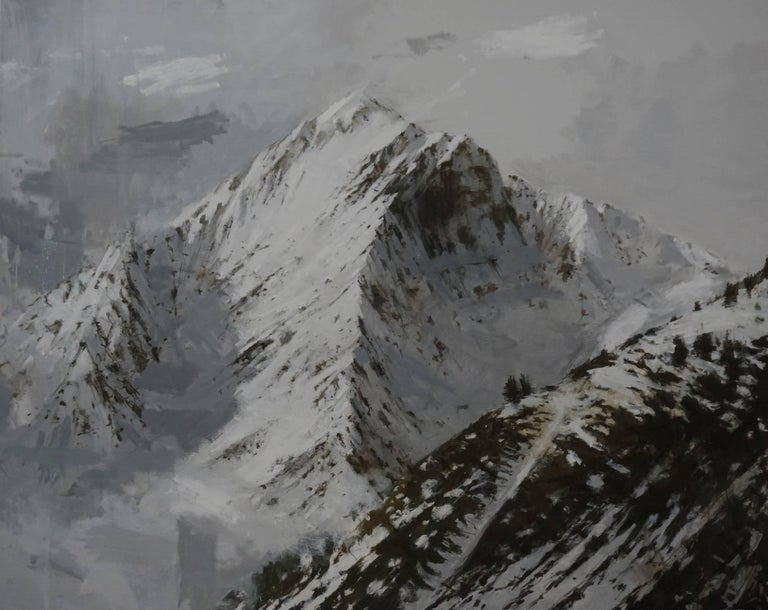 Big  Benasque 2 (Snow series) is a painting by Spanish contemporary artist Calo Carratalá. This work of art represents a mountainous winter landscape in the Pyrenean valley of Bénasque. This high mountain peak, imposing and rocky, appears to blend