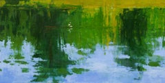 Fisherman and Lake - Large Waterscape Painting