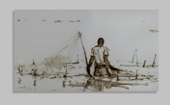 Fisherman V, Tanzania series - Acrylic on iron painting