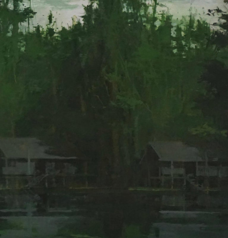 Houses on stilts on the Amazon, Jungle series (Tondo painting, landscape) - Painting by Calo Carratalá