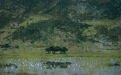 Lake in the Ngorongoro (Tanzania) - Landscape Painting