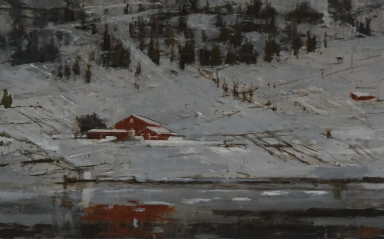Calo Carratalá Figurative Painting - Red Houses no.2, Norway - Landscape Painting