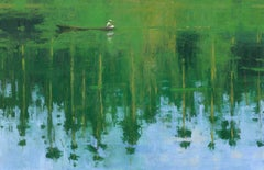 Reflection n°6, Jungle series - Large Waterscape Painting