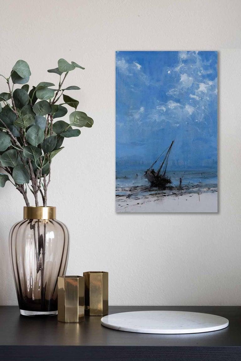 Todo avanza hacia su final I - Landscape Painting, seascape, Tanzania - Blue Figurative Painting by Calo Carratalá