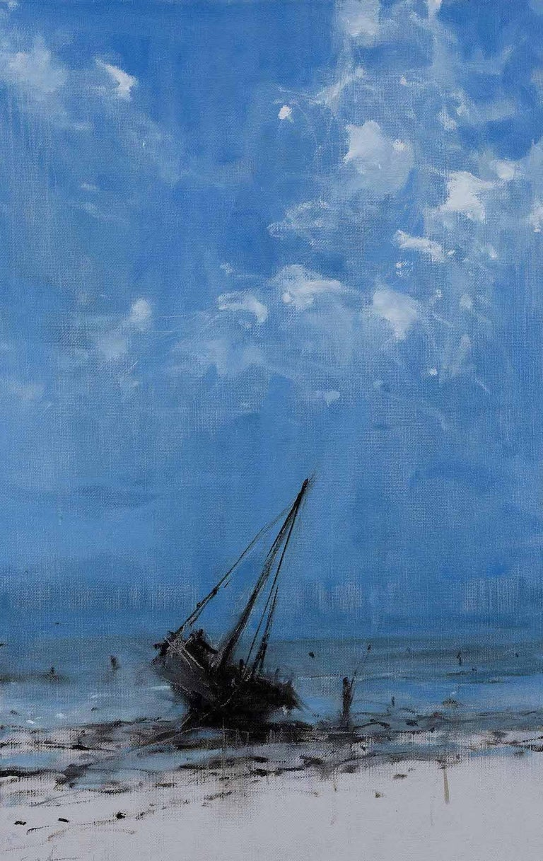 Calo Carratalá Figurative Painting - Todo avanza hacia su final I - Landscape Painting, seascape, Tanzania