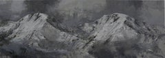 Twin Mountains, Snow series - Mountain Landscape Painting