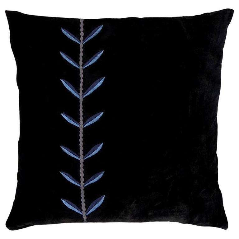 Calouste S, Hand Embroidered Silk Velvet Cushion For Sale