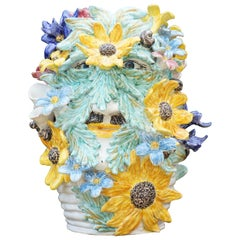 Caltagirone Ceramic Sculpture Vase Model Santino