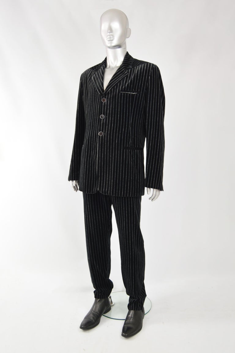 Black Calugi e Giannelli Mens Velvet Pinstripe Suit For Sale