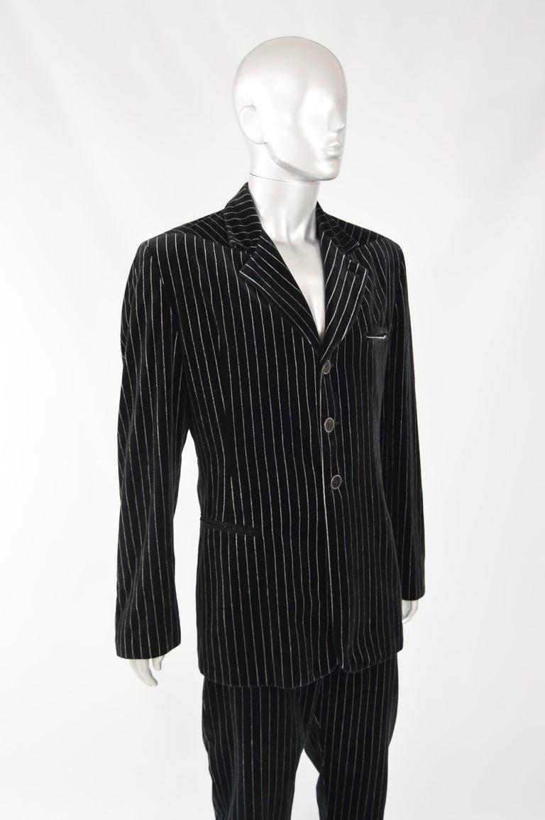 Calugi e Giannelli Mens Velvet Pinstripe Suit For Sale 1