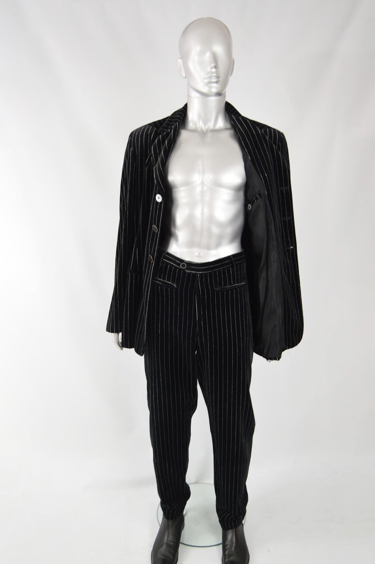 Calugi e Giannelli Mens Velvet Pinstripe Suit For Sale 2