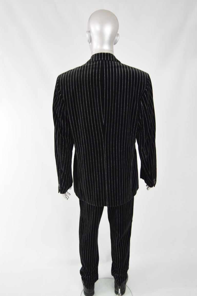 Calugi e Giannelli Mens Velvet Pinstripe Suit For Sale 3