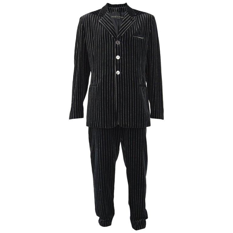 Calugi e Giannelli Mens Velvet Pinstripe Suit For Sale
