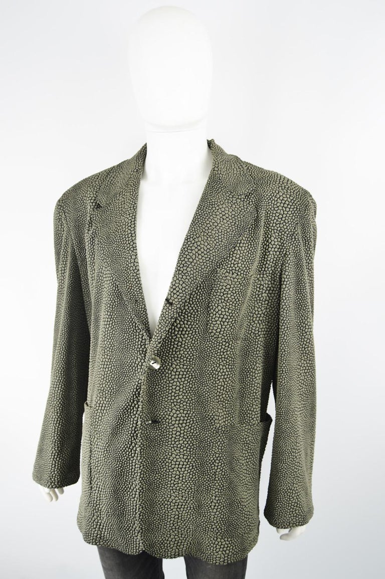 Gray Calugi e Giannelli Men's Vintage 1980s 3D Textured Avant Garde Blazer Jacket For Sale