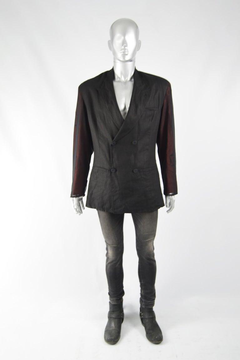 Black Calugi e Giannelli Mens Vintage Oscars Statue Mesh Sleeve Jacket For Sale