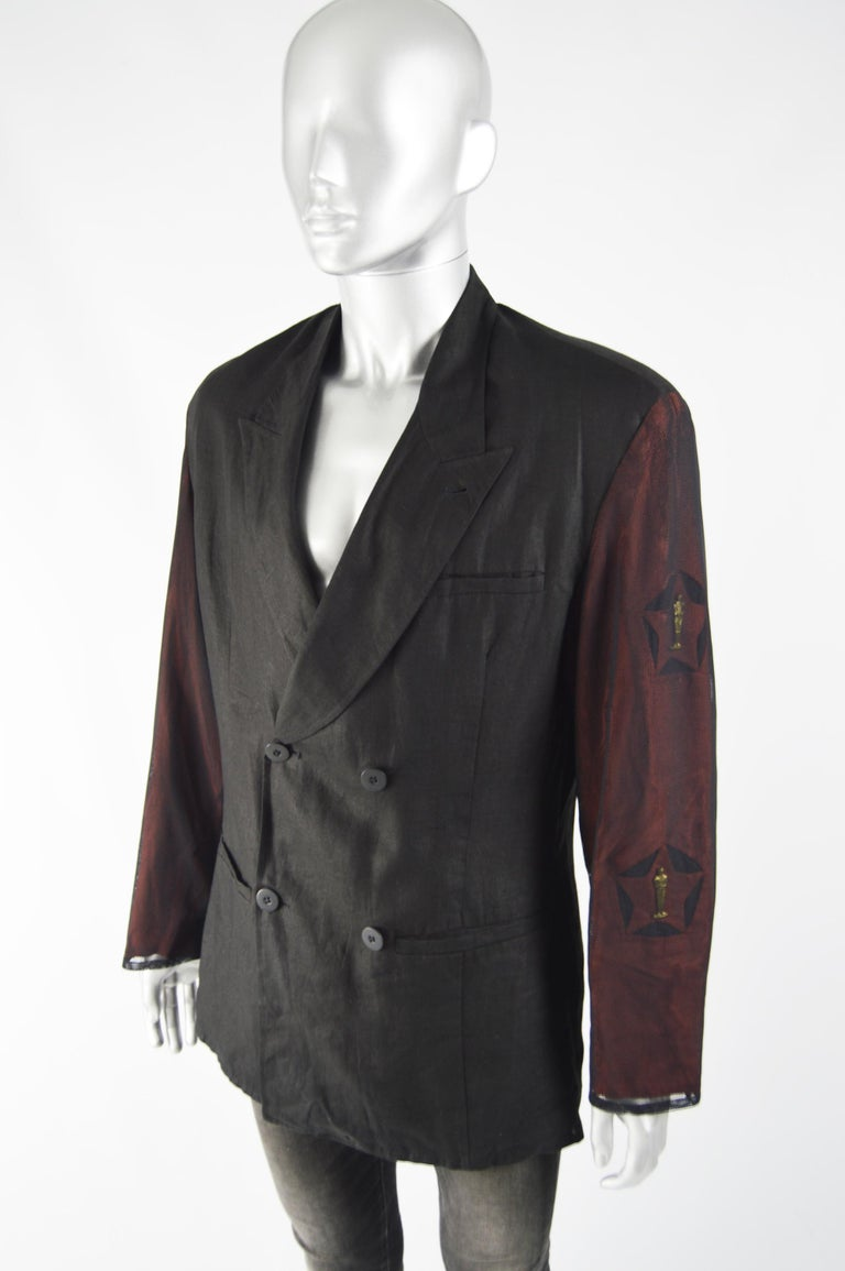 Calugi e Giannelli Mens Vintage Oscars Statue Mesh Sleeve Jacket In Excellent Condition For Sale In Doncaster, South Yorkshire