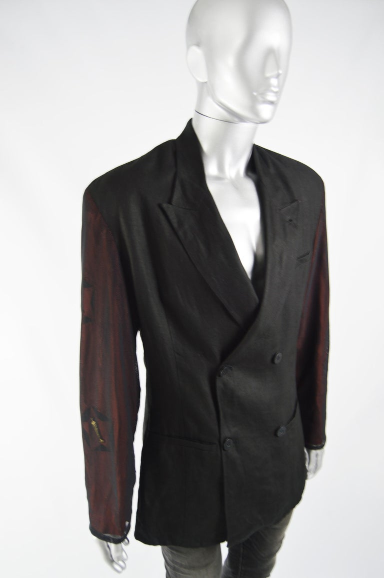 Calugi e Giannelli Mens Vintage Oscars Statue Mesh Sleeve Jacket For Sale 2