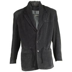 Calugi e Giannelli Vintage 1980's Gray Double Collar Mens Built-in Hood Jacket
