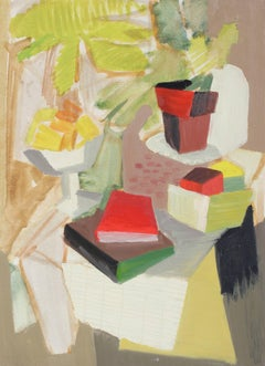 Abstracted Still Life with Books, Oil on Paper, 1943