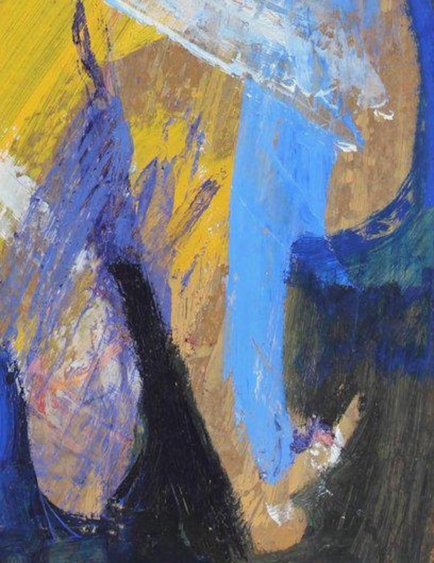 Bauhaus Modernist Abstract In Blue Yellow White Oil Painting Late 1950s