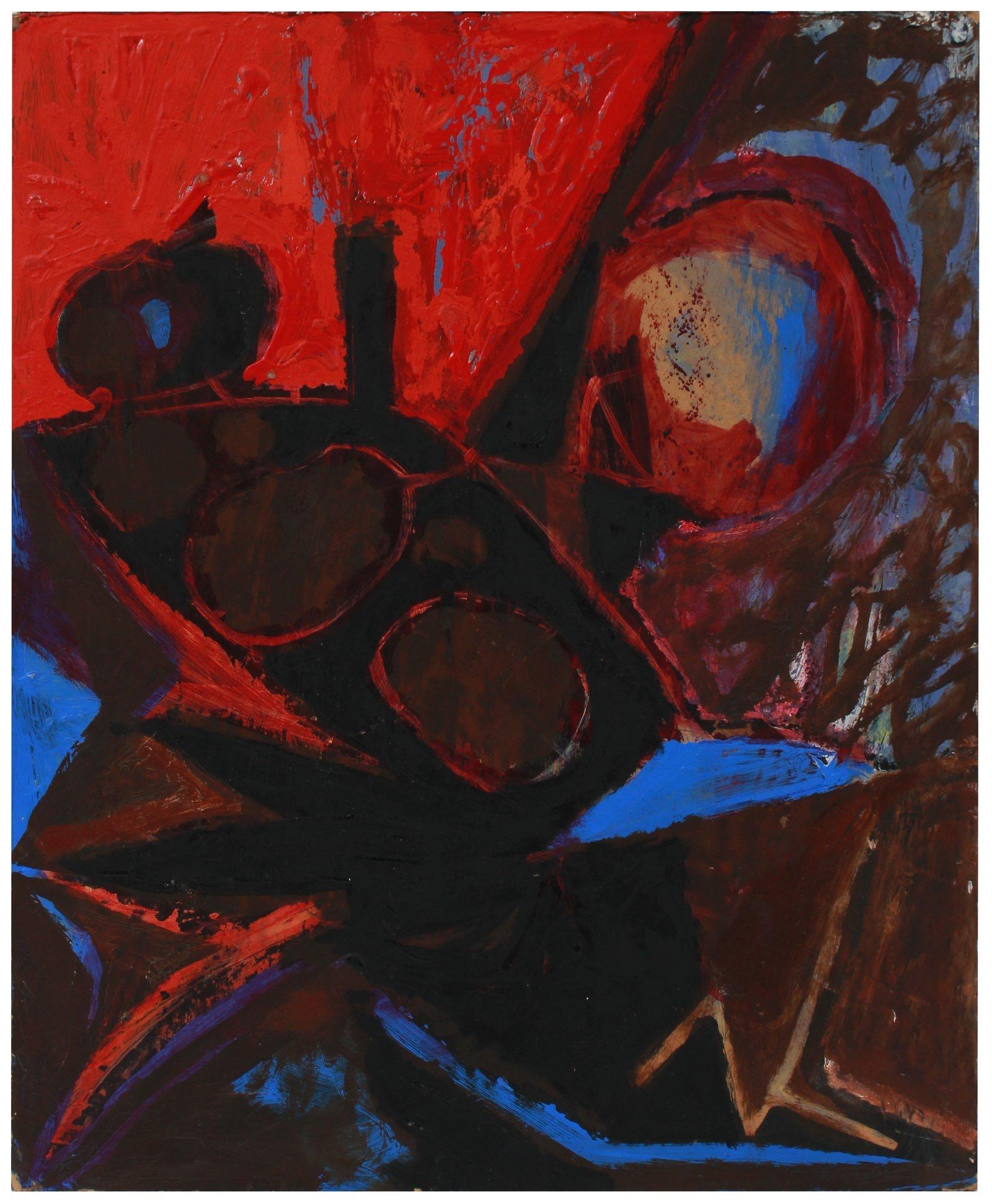 Bold Red & Black Abstract 1950s Acrylic