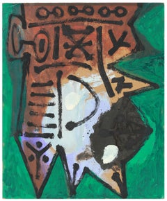 Emerald Green and Brown Modernist Abstract Painting in Oil, Circa late 1950s