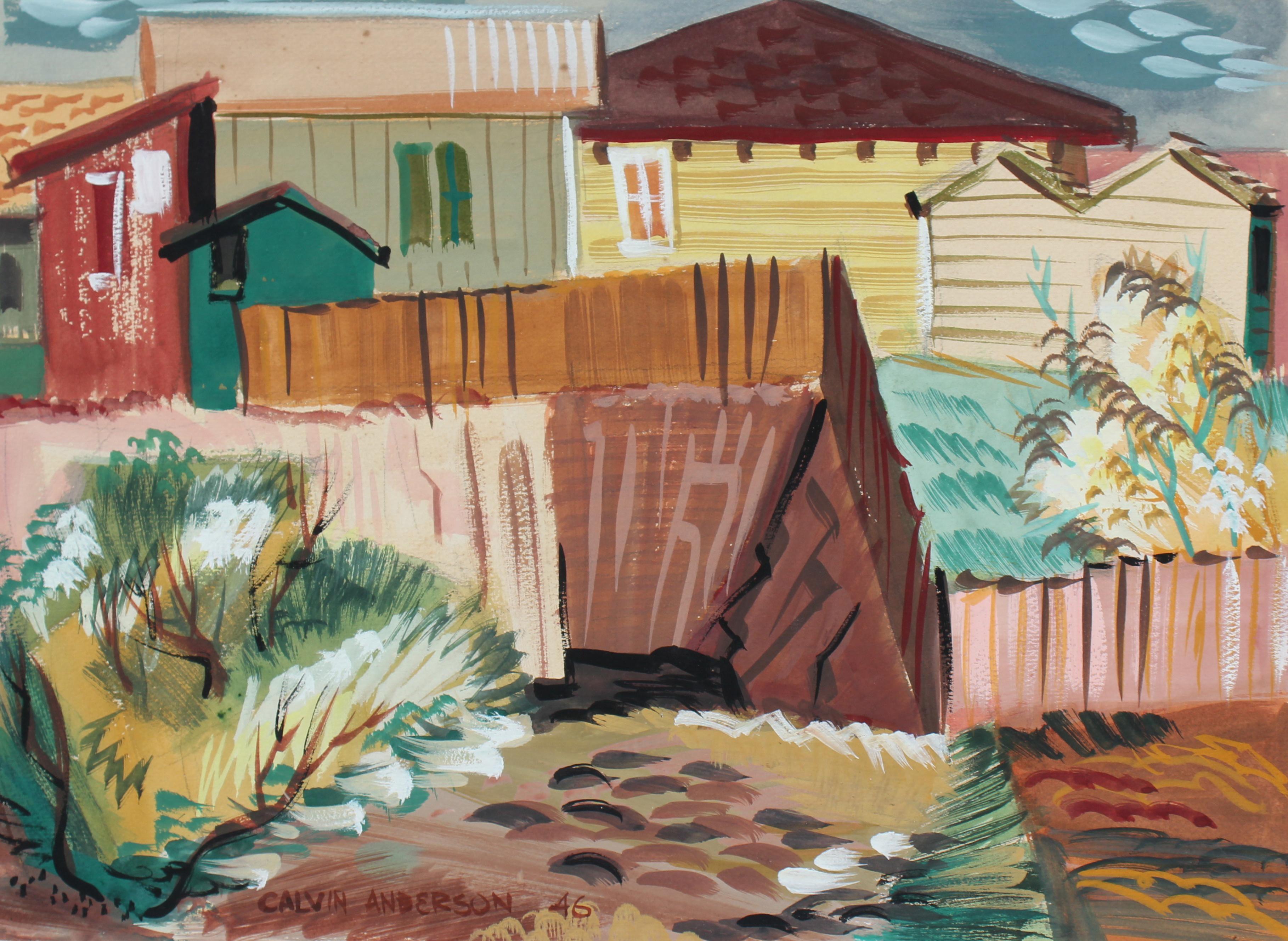 Geometric Backyard City Scene 1946 Gouache