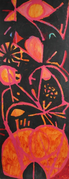 Large Modernist Abstract in Pink, Black, & Orange, Oil Painting, Circa 1950s