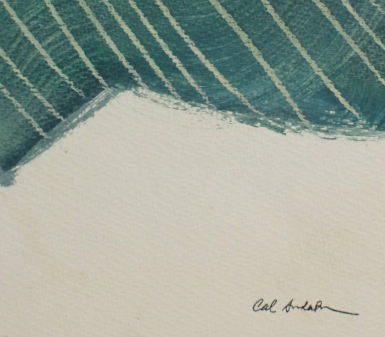 Mid Century Modern Abstract in Green, Oil on Paper, 1943 - Painting by Calvin Anderson