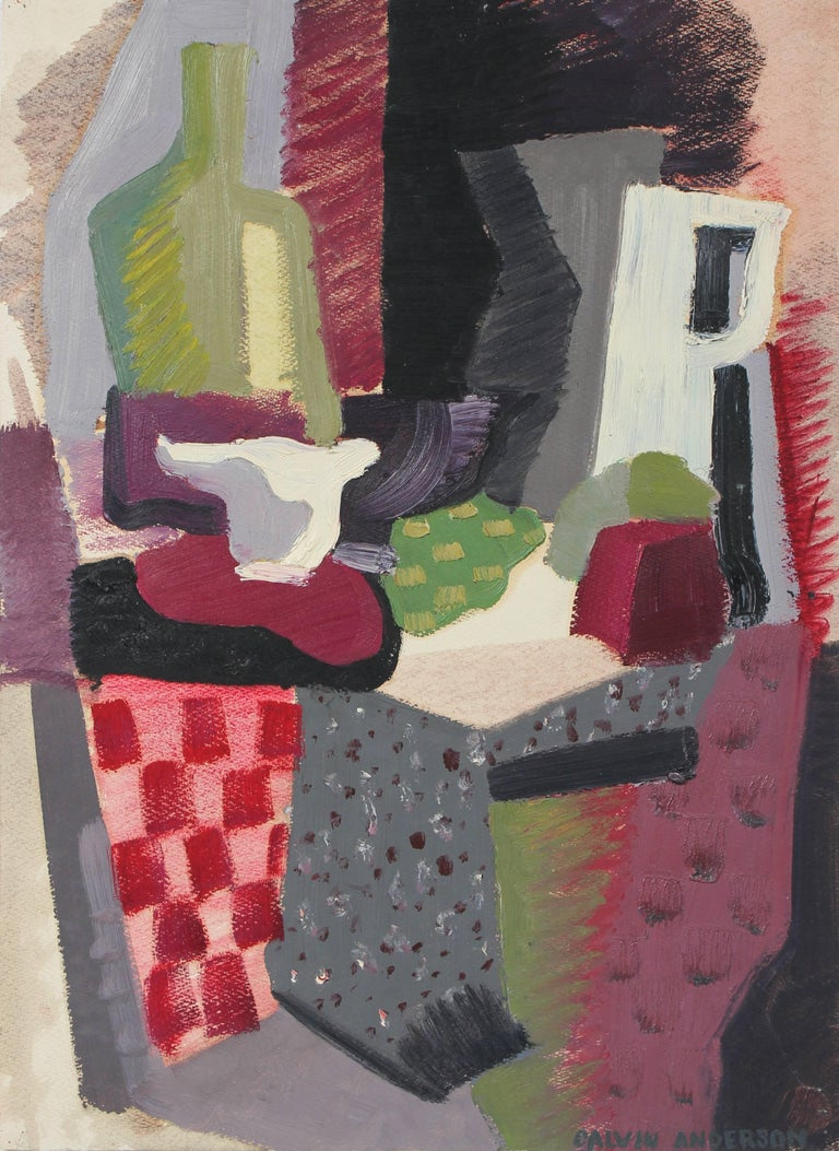 Mid Century Modern Abstracted Still Life in Warm Tones, Oil on Paper, 1943