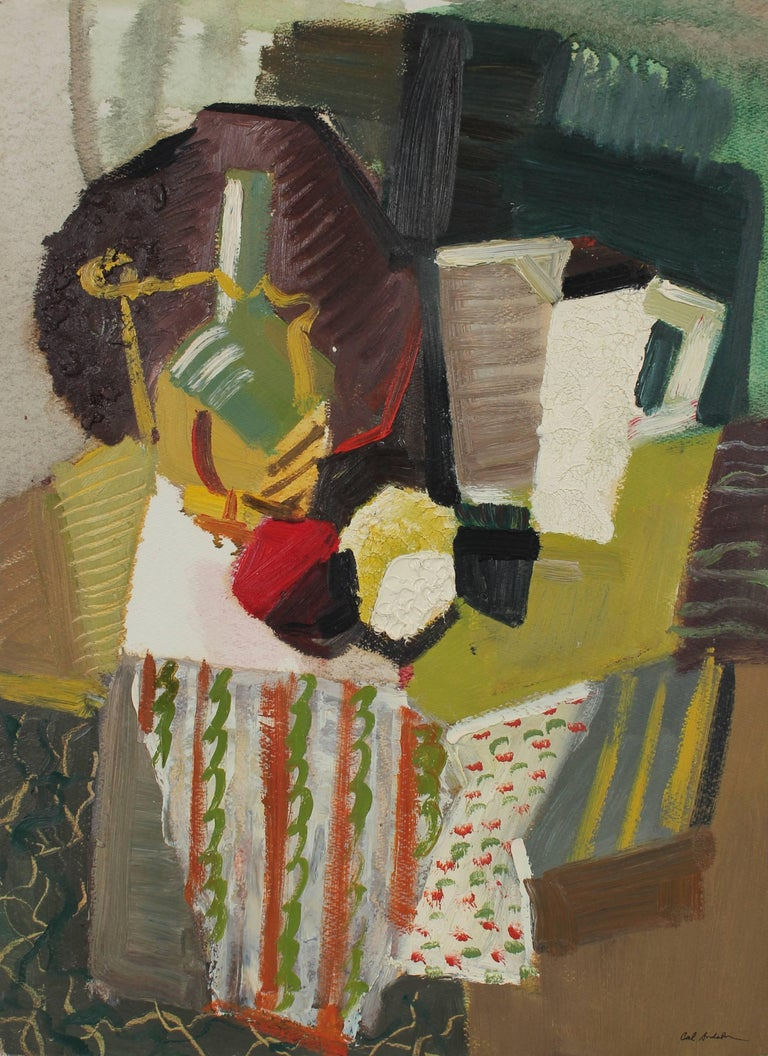 Calvin Anderson Abstract Painting - Mid Century Modern Cubist Still Life, Oil on Paper, 1943