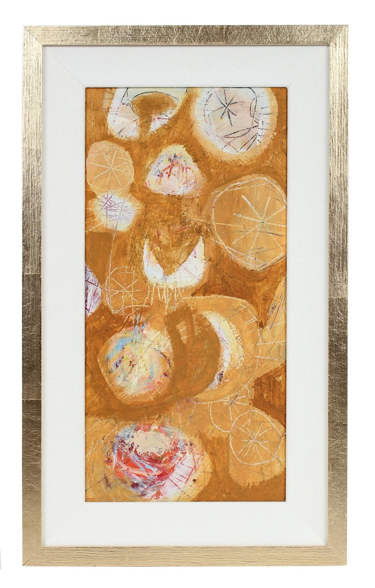 Calvin Anderson Abstract Painting - Modernist Abstract in Gold, Oil Painting, Late 1950s