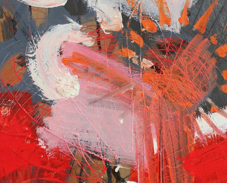 Modernist Abstract in Red and Gray, Oil Painting, Circa 1950s - Brown Abstract Painting by Calvin Anderson