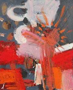 Modernist Abstract in Red and Gray, Oil Painting, Circa 1950s