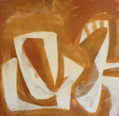 Modernist Abstract in White and Gold, Oil Painting, Circa 1950s