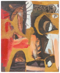 Modernist Abstract in Yellow, Red, Black and White, Oil Painting, Late 1950s