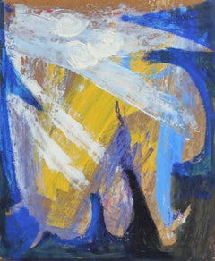 Modernist Abstract Oil Painting in Yellow, Blue and White, Circa Late 1950s