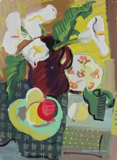 Modernist Still Life with Calla Lilies in Gouache, 1943